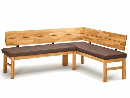 LAZLO Eckbank, Material Massivholz / Stoff, Wildeiche massiv/Stoff braun