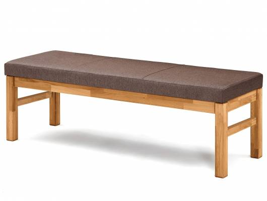 RENALDO Sitzbank, Material Massivholz, Wildeiche/Stoff braun