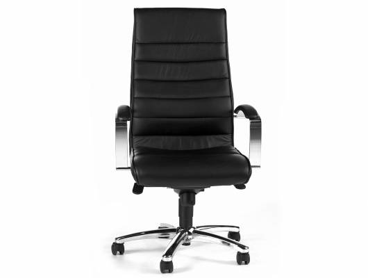 TD LUXE 10 Drehstuhl mit Armlehnen, schwarz, Bezug Echtleder/Kunstleder
