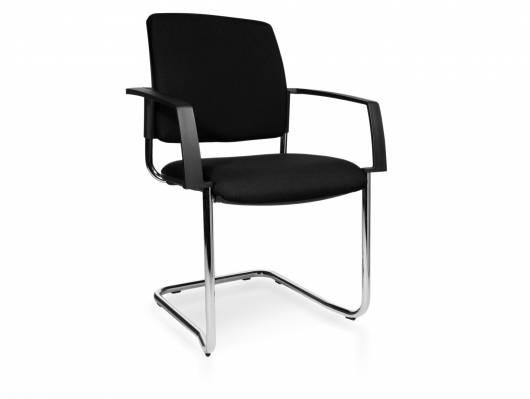 B-TO-B 20 Besucherstuhl / Stapelstuhl mit Armlehne, Material Kunstfaser/Stahlrohr, schwarz