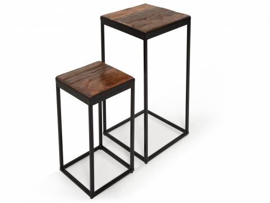 FLOBI 2er Set Beistelltisch/Blumensäule, Material Recyclingholz/Metall