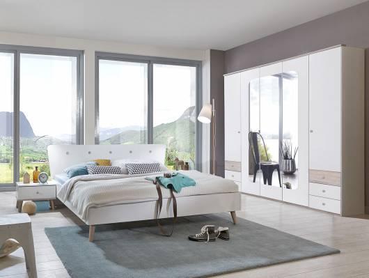 BATIDA I Komplett-Schlafzimmer 140 x 200 cm | weiss/Eiche sägerau ...
