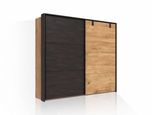 DASTY Schwebetürenschrank, Material Dekorspanplatte, plankeneichefarbig/dunkelgrau