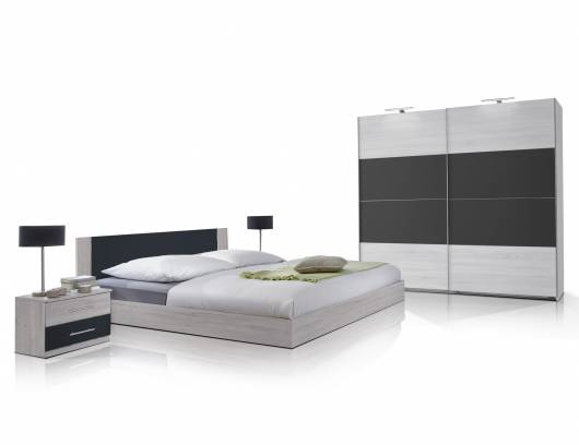 flores ii komplett schlafzimmer 160 x 200 cm wei eiche anthrazit. Black Bedroom Furniture Sets. Home Design Ideas