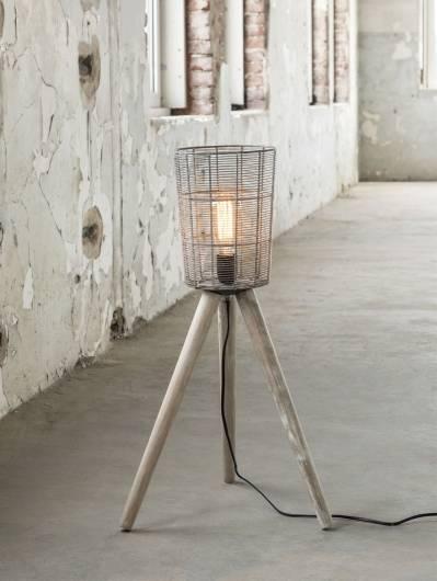 LEVI Stehlampe klein schmal mit Korb Holzbeine