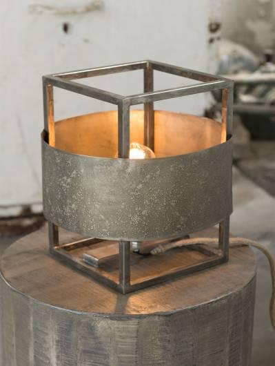JAMES Tischlampe Metall verwittert rund
