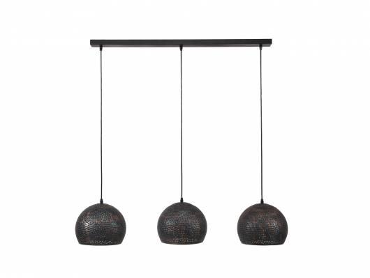 MALI Pendelleuchte mit 3 schwarz-braunen Schirmen