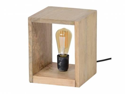 BERNAU Tischlampe klein aus Holzquader