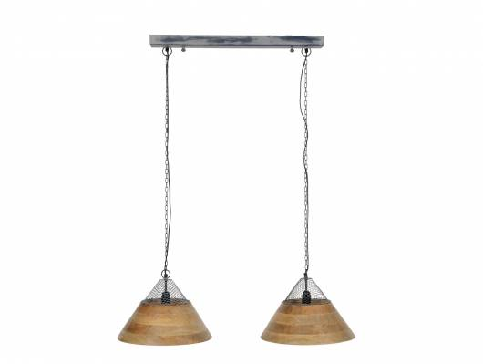 KLEVE Hängelampe mit 2 Schirmen aus Mangoholz