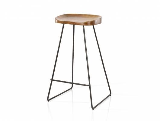 JARON Barhocker, Material Massivholz/Metall, Sitzfläche Akazie + Gestell schwarz