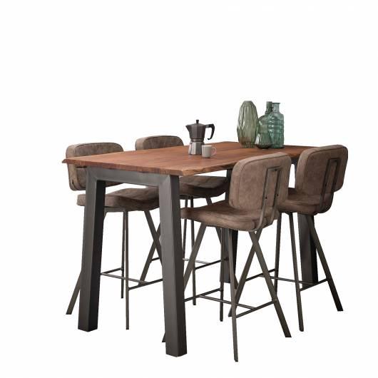 GREMO Bartisch 147x80 cm, Material Massivholz/Metall, Akazie mit Gestell