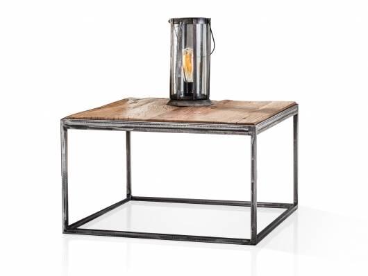 JASCHA Couchtisch 60x60 cm, Material Massivholz, rustikal mit Metallgestell