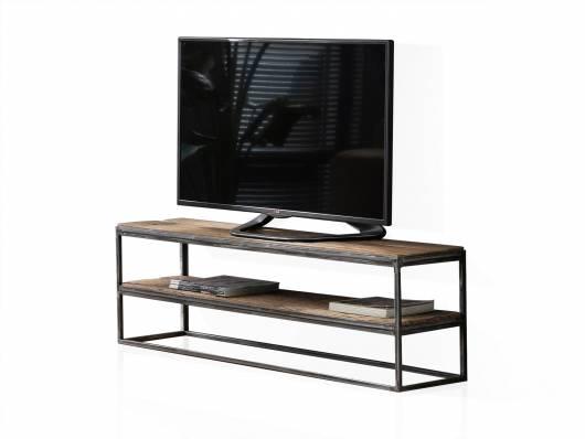 JASCHA TV-Lowboard, Material Massivholz, rustikal mit Metallgestell