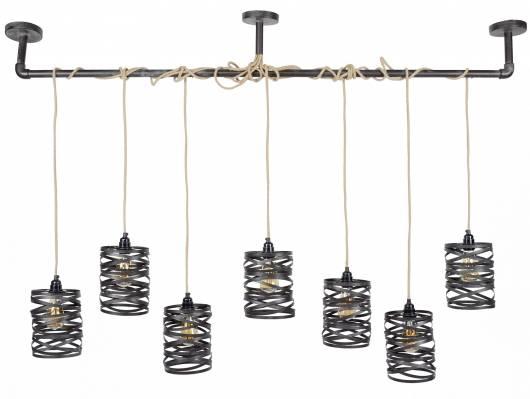 VINNY II Pendelleuchte mit 7 Leuchten, Material Metall, schiefergrau