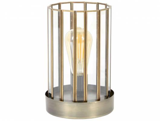 DOBS Tischlampe mit Glas/Metallsockel bronzefarbig antik
