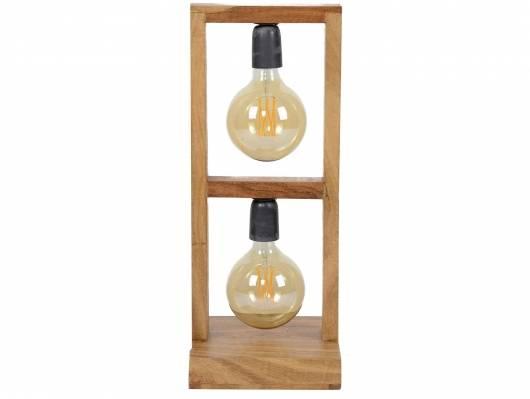 FAHRO Tischlampe mit 2 Leuchten, Akazie massiv