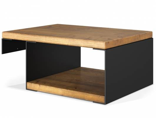 CURBY Nachtkommode für Balkenbett, Vintage/schwarz, Material Massivholz/Metall