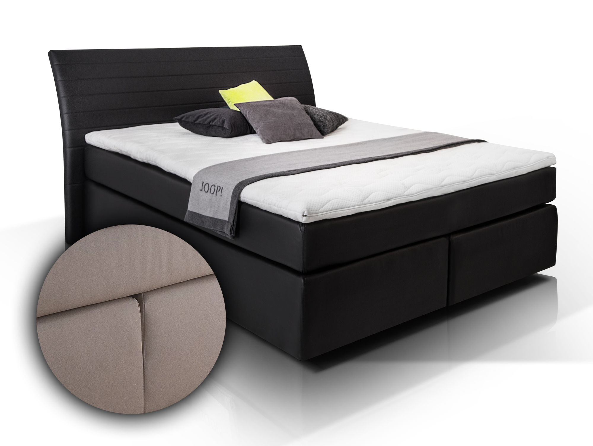 boxspringbett heaven 160x200 cm muddy h2 h3 160 x 200 cm muddy h rtegrad 2 3. Black Bedroom Furniture Sets. Home Design Ideas