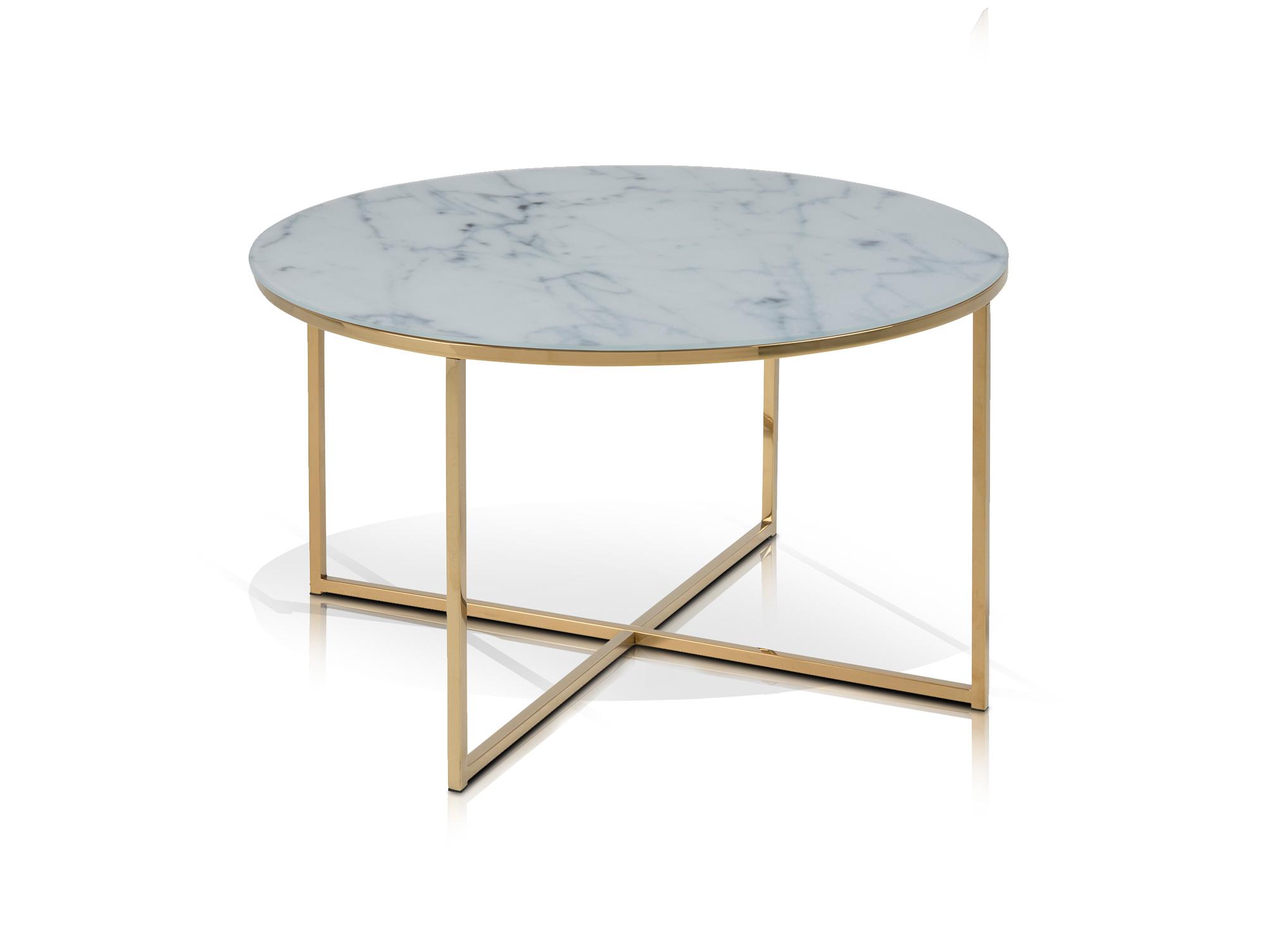 Aminda couchtisch rund 80 cm glasplatte mit marmorprint gold for Couchtisch mit glasplatte