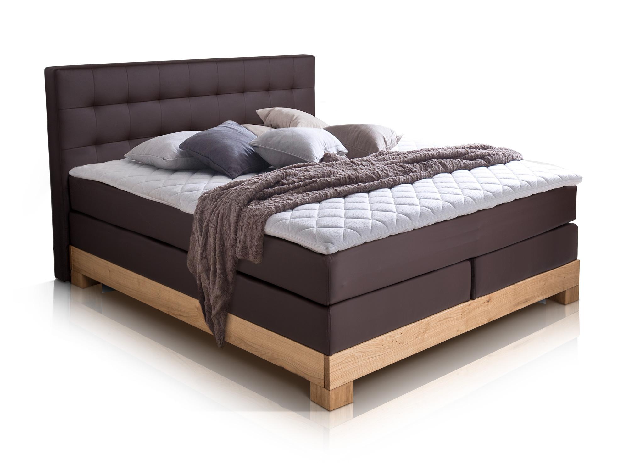 arche boxspringbett mit massivholzrahmen 160 x 200 cm braun buche h rtegrad 2. Black Bedroom Furniture Sets. Home Design Ideas