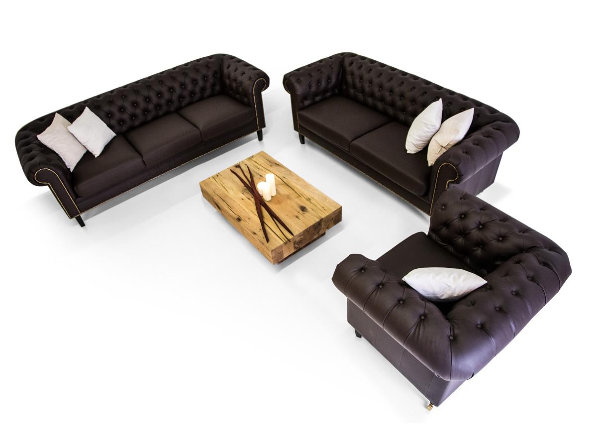 CHESTERFIELD Santos 3 2 1 Sofa Garnitur Kunstleder Braun
