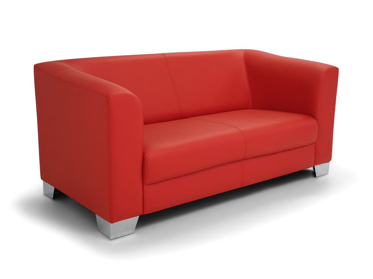 Chicago 2 sitzer sofa ledersofa rot for 2 sitzer couch