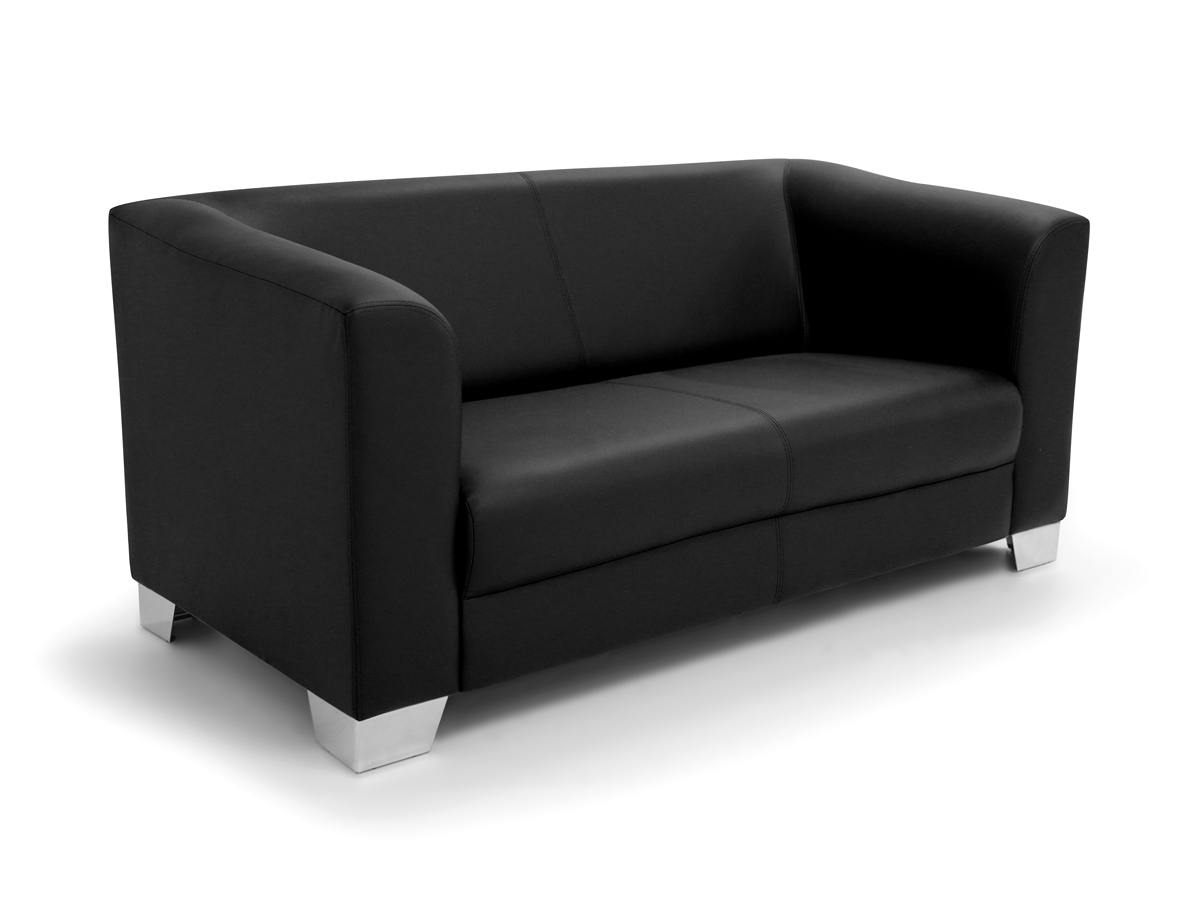 chicago 2er sofa ledersofa schwarz. Black Bedroom Furniture Sets. Home Design Ideas