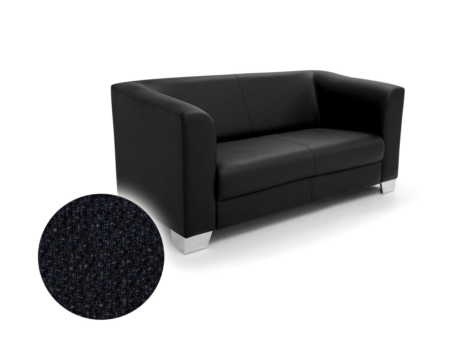 chicago 2 sitzer sofa webstoff berlin schwarz. Black Bedroom Furniture Sets. Home Design Ideas