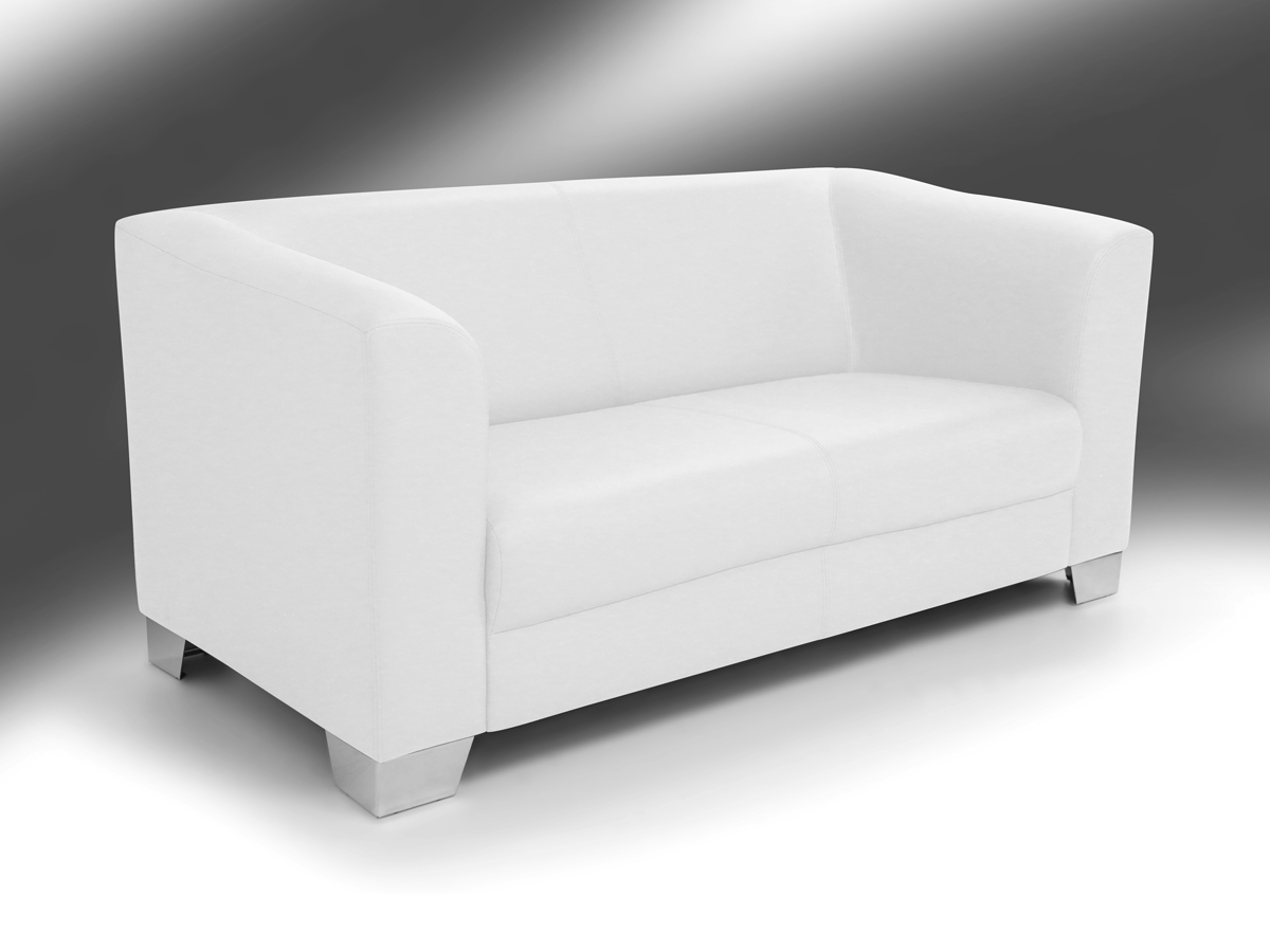 chicago 2 sitzer sofa ledersofa weiss. Black Bedroom Furniture Sets. Home Design Ideas
