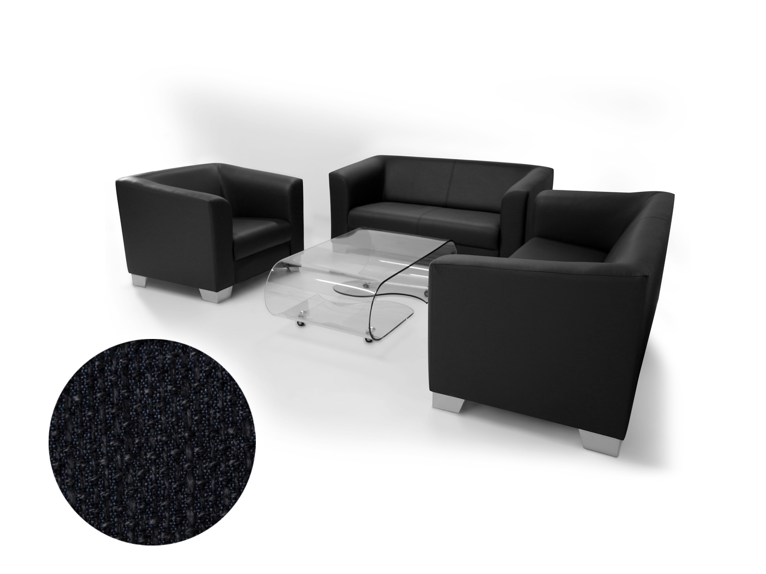 chicago 3 2 1 sofagarnitur webstoff berlin schwarz. Black Bedroom Furniture Sets. Home Design Ideas