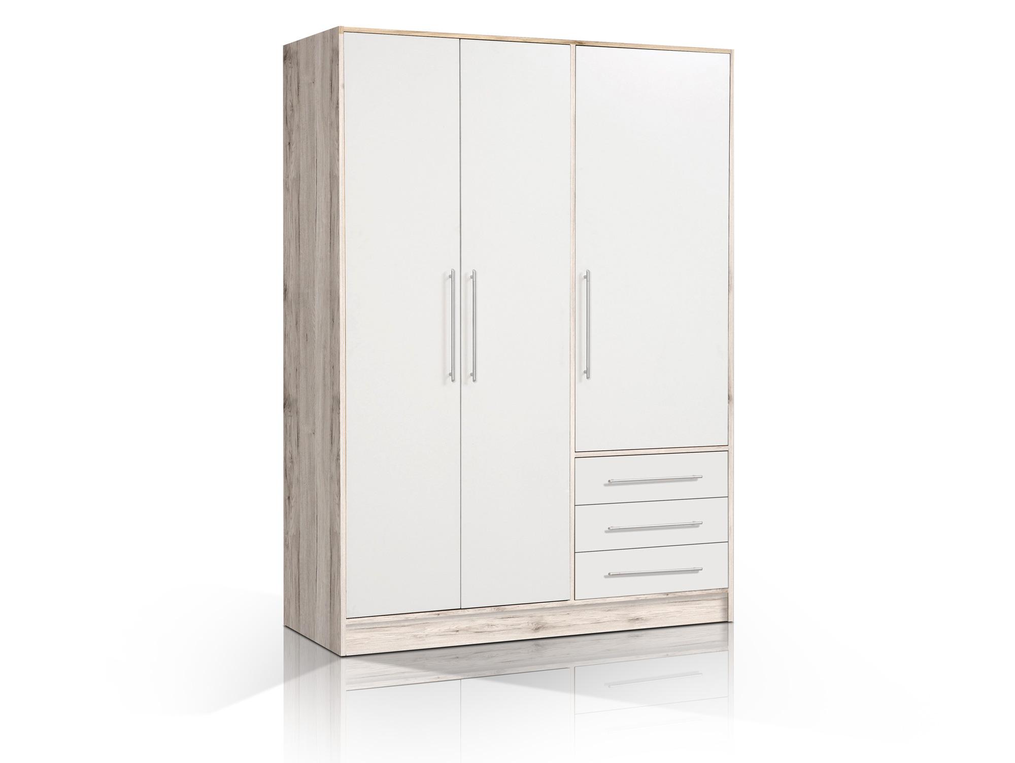jasmin kleiderschrank 3trg 3 sk sandeiche wei. Black Bedroom Furniture Sets. Home Design Ideas