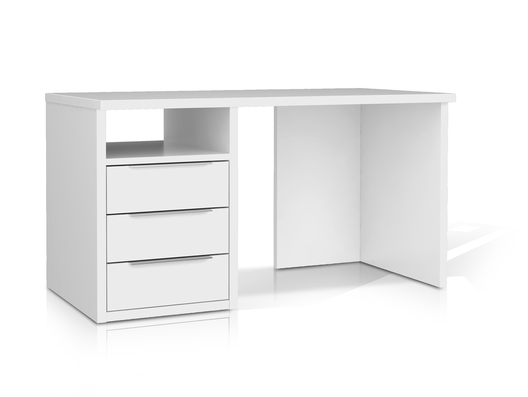 orca schreibtisch 140 cm schubladen links weiss. Black Bedroom Furniture Sets. Home Design Ideas
