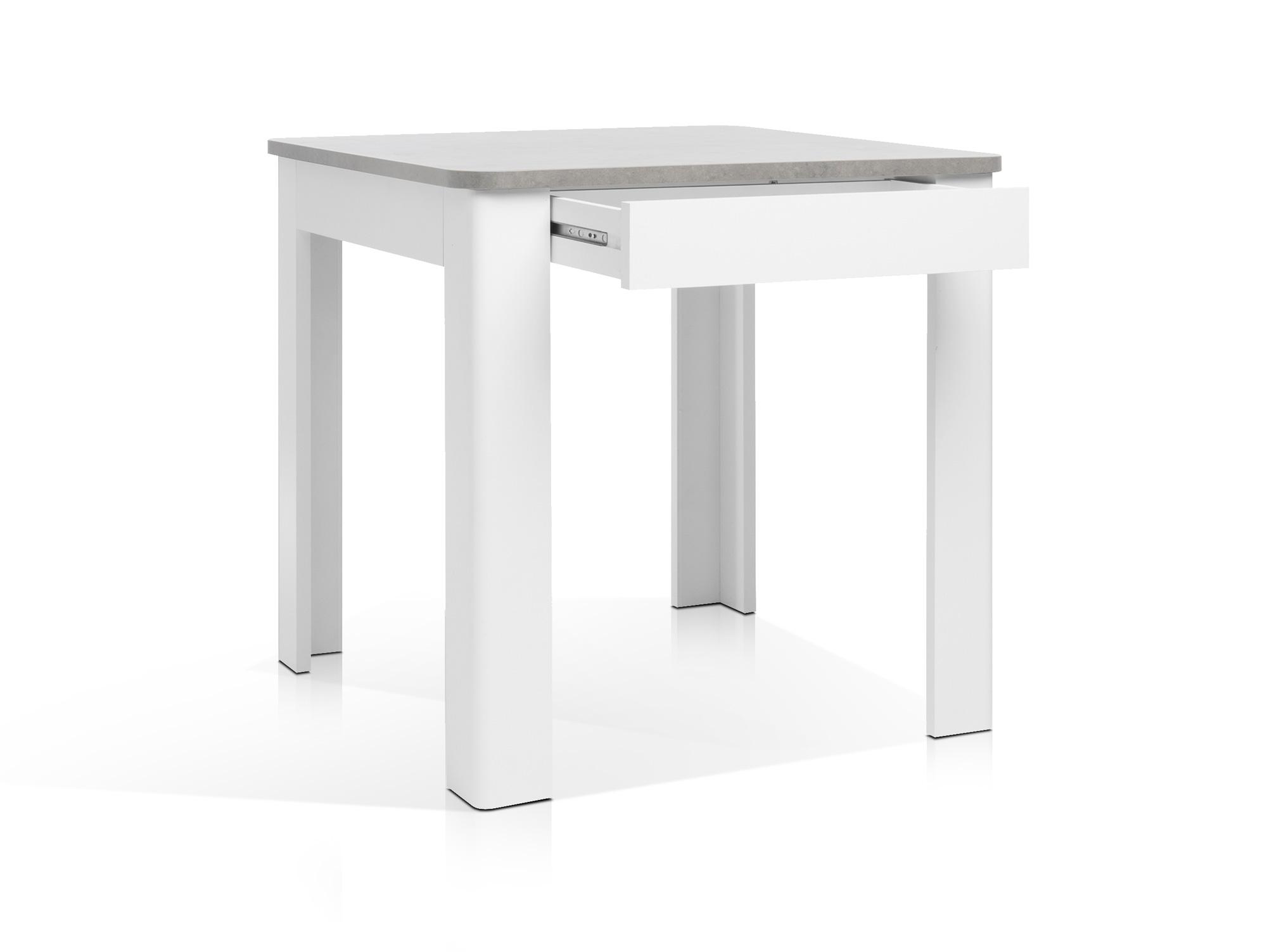 OSLO Esstisch mit Schubkasten weiß/Beton
