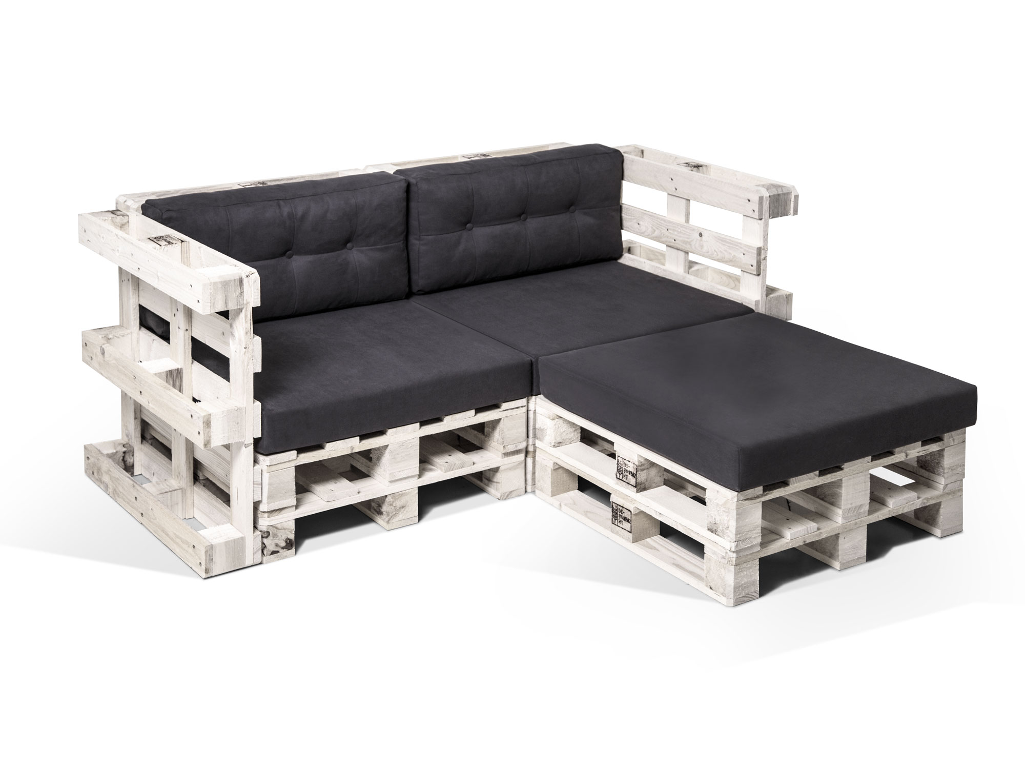 paletti ecksofa 2 sitzer aus paletten wei lackiert. Black Bedroom Furniture Sets. Home Design Ideas