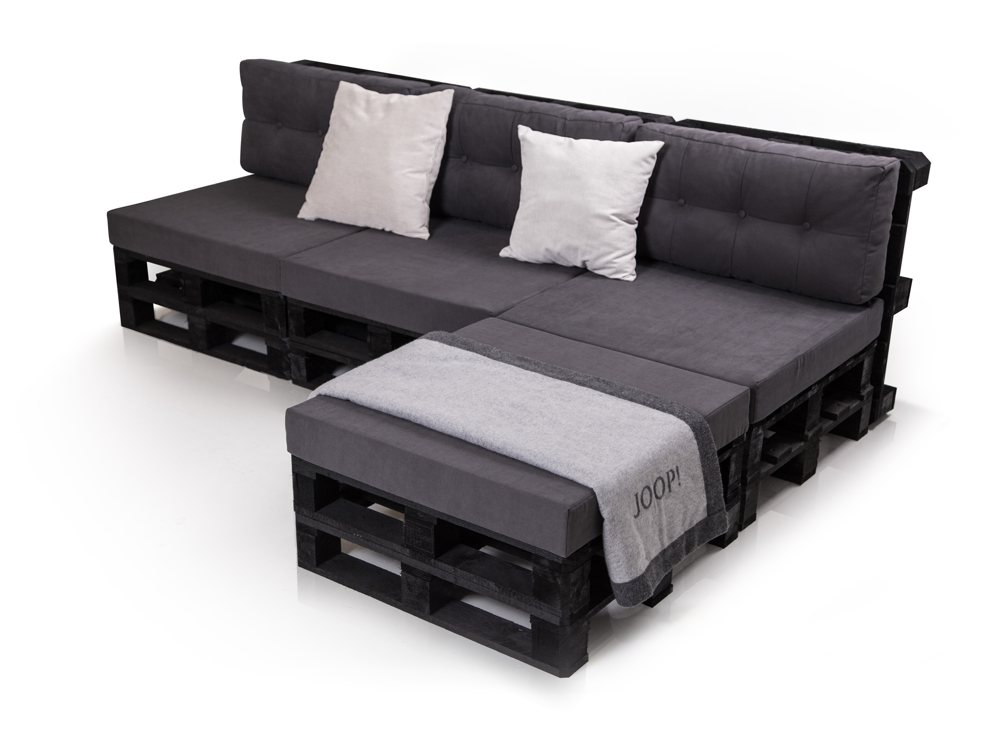 paletti 3 sitzer ecksofa sofa aus paletten fichte schwarz. Black Bedroom Furniture Sets. Home Design Ideas