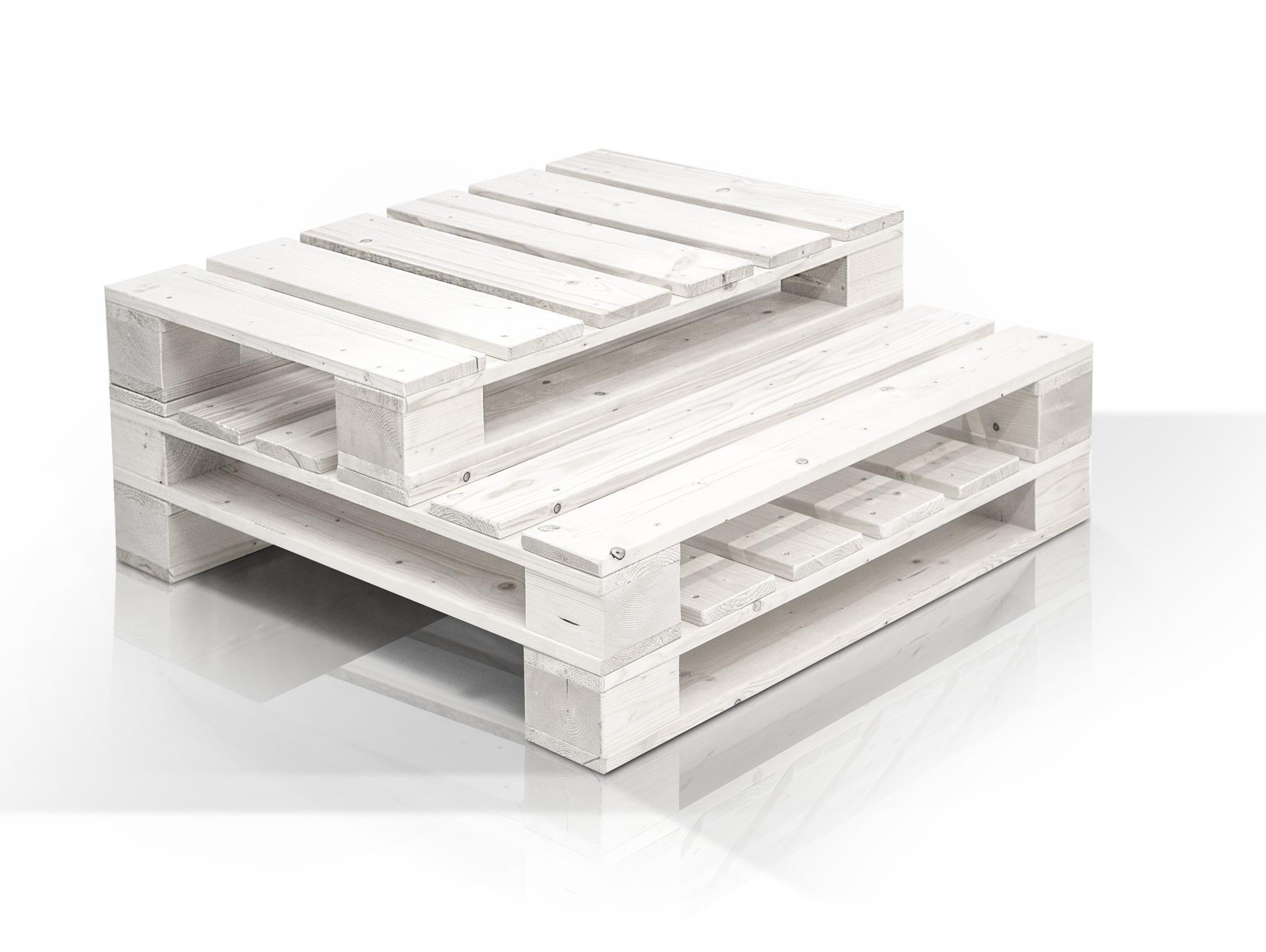 paletti couchtisch aus paletten 90x90 cm weiss lackiert. Black Bedroom Furniture Sets. Home Design Ideas