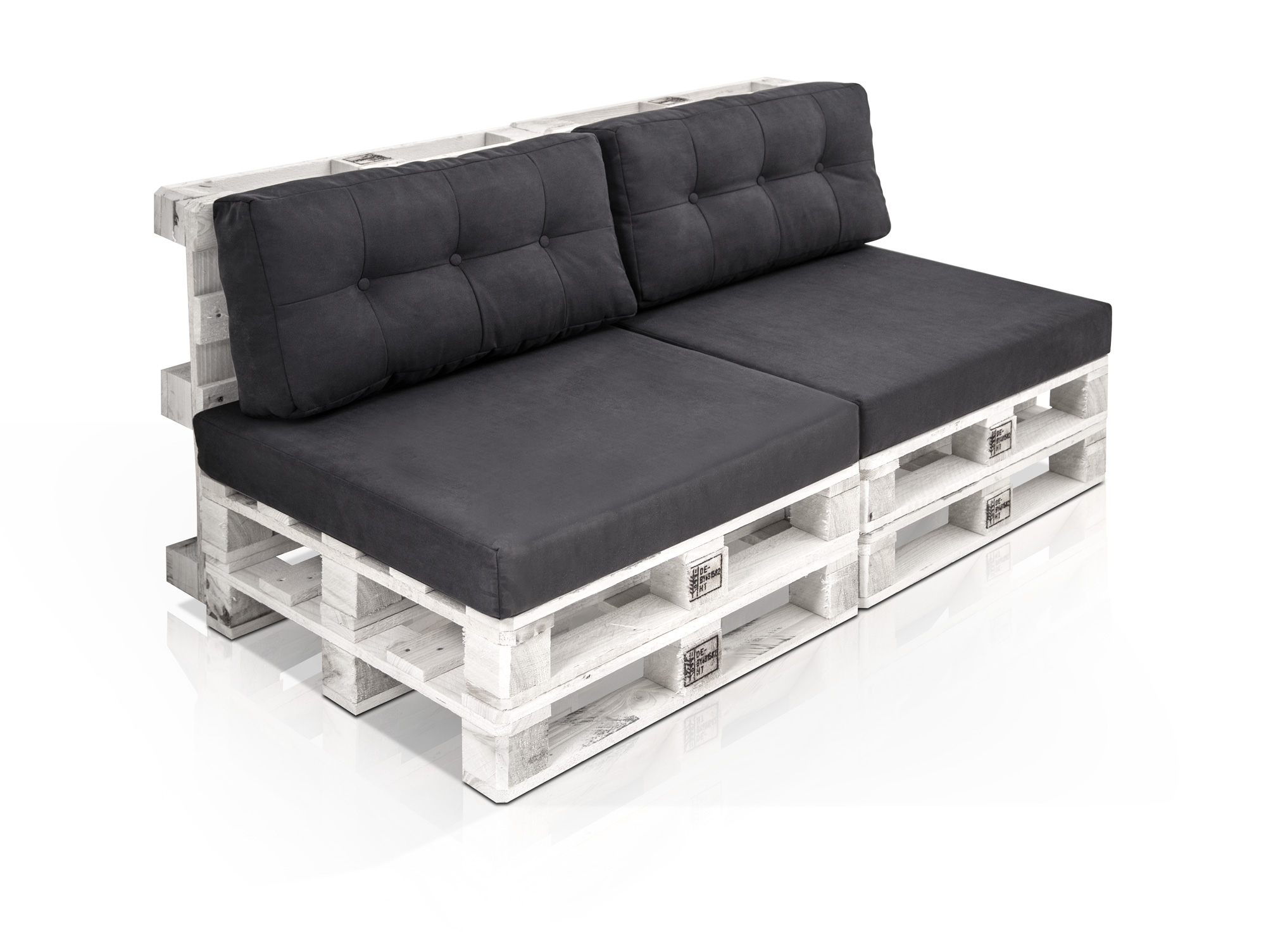 paletti 2 sitzer sofa aus paletten weiss lackiert ohne. Black Bedroom Furniture Sets. Home Design Ideas