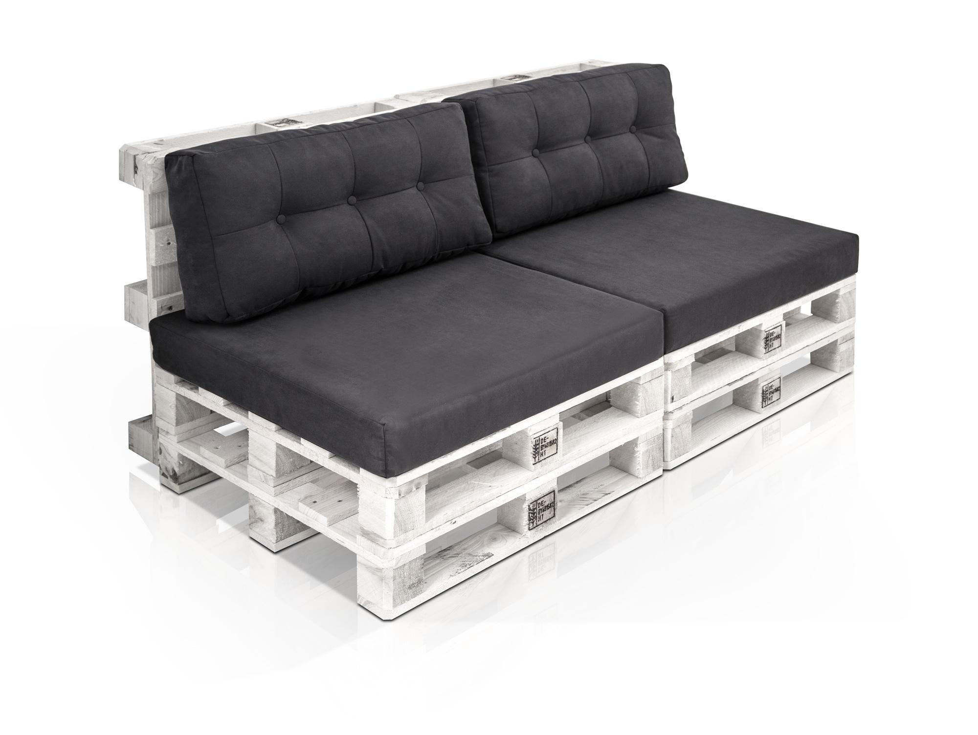 paletti 2 sitzer sofa aus paletten weiss lackiert ohne armlehnen. Black Bedroom Furniture Sets. Home Design Ideas