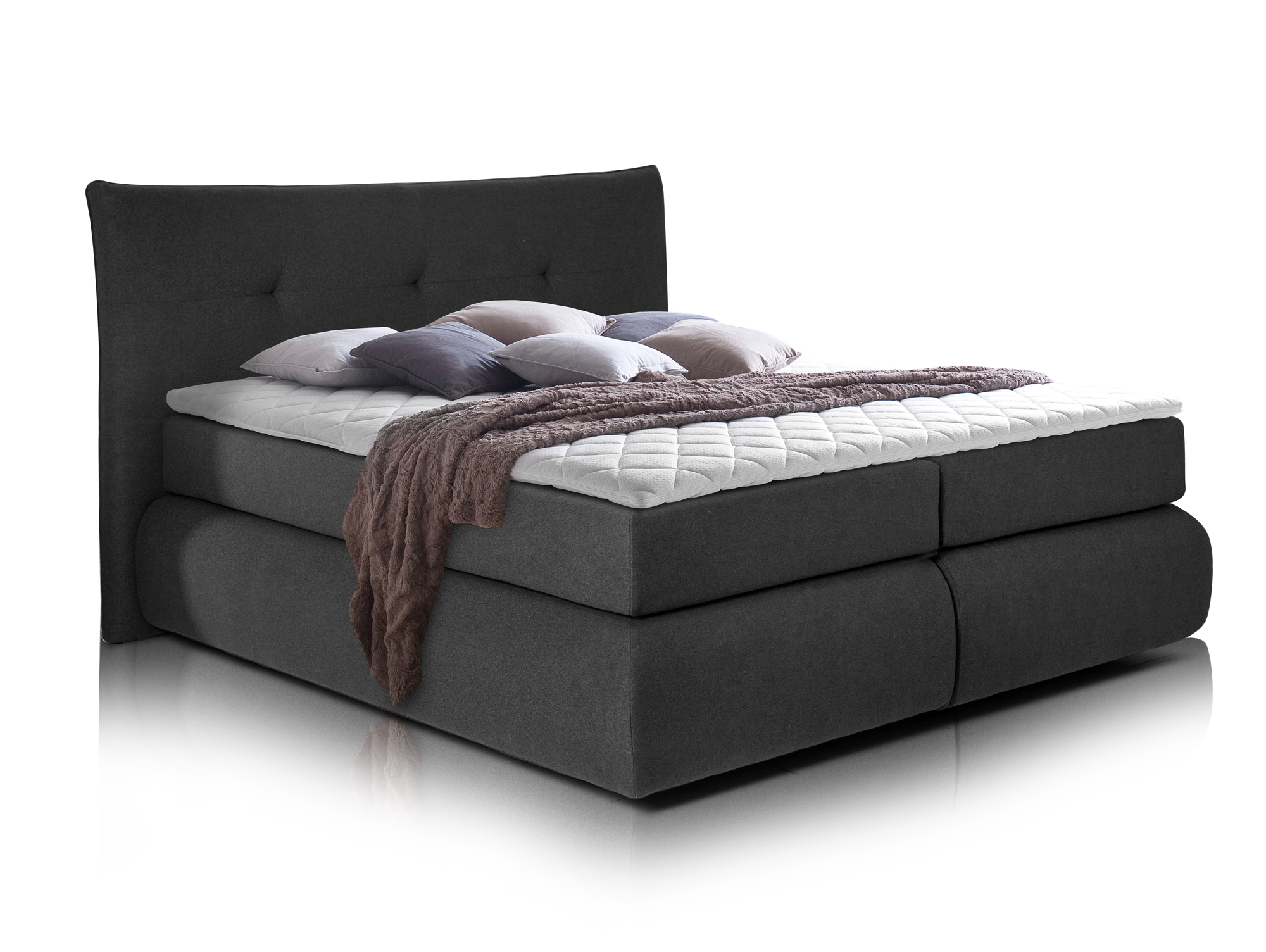 paris ii boxspringbett inklusive kopfteil 160 x 200 cm anthrazit h rtegrad 3. Black Bedroom Furniture Sets. Home Design Ideas