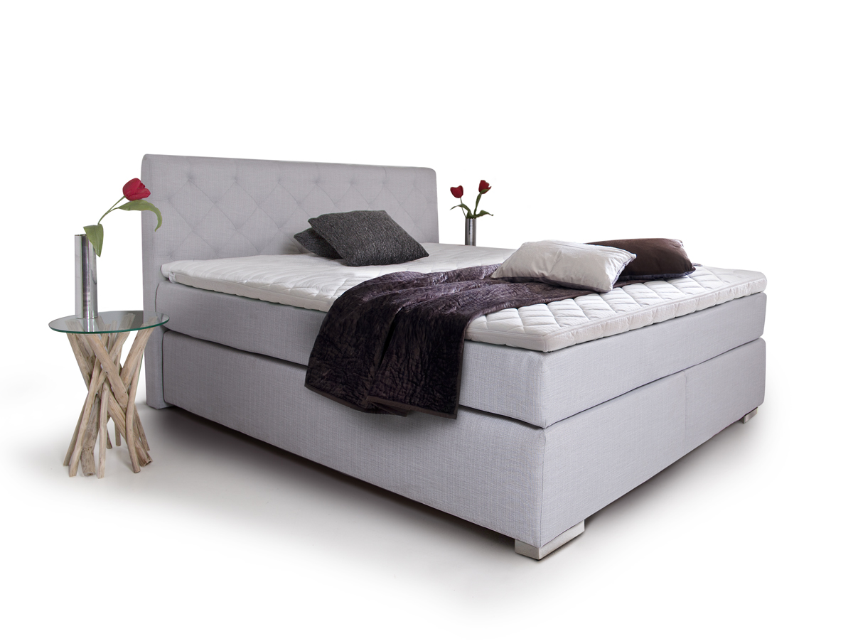 premium boxspringbett inkl kopfteil 90 x 200 cm grau. Black Bedroom Furniture Sets. Home Design Ideas