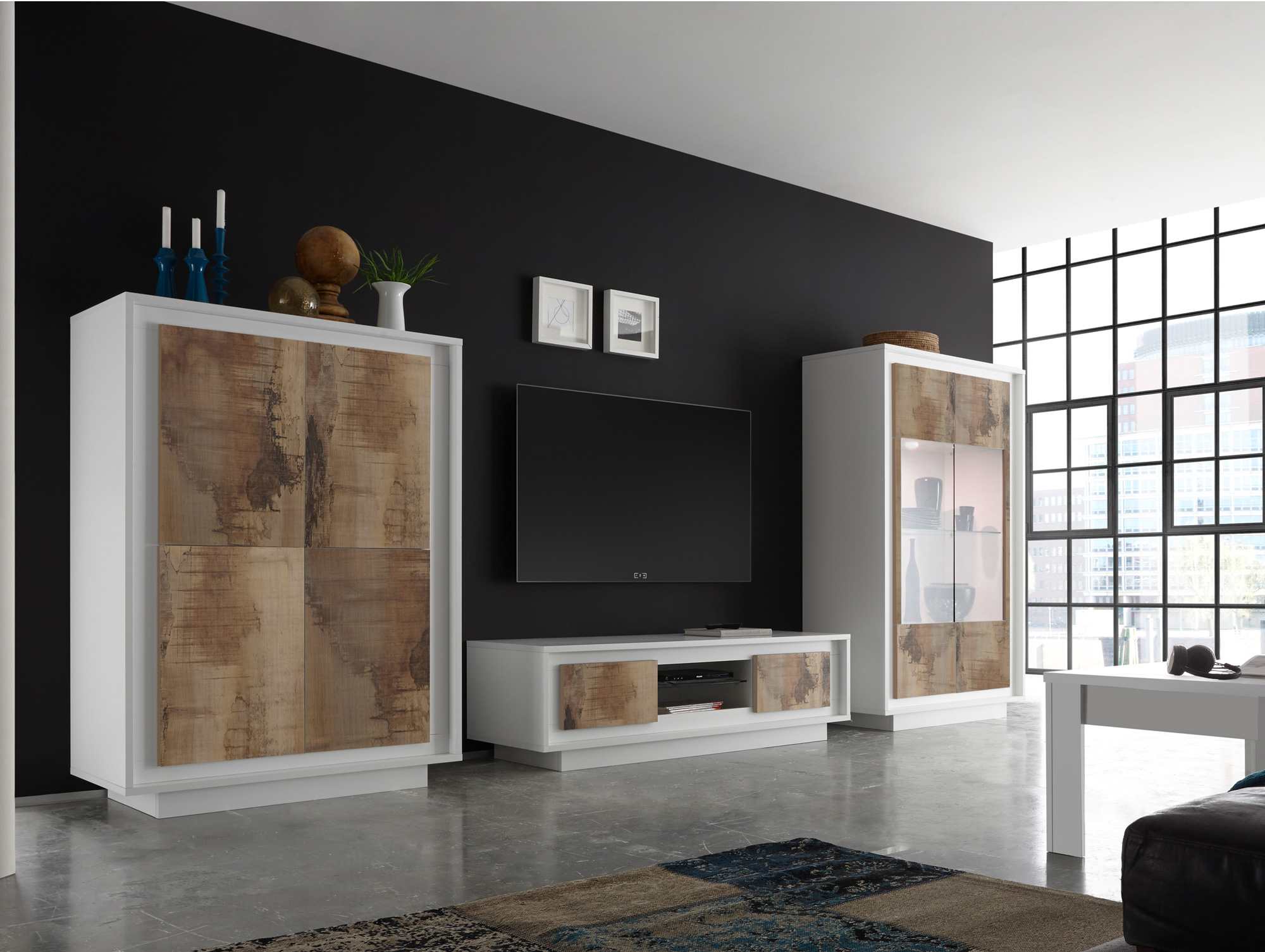 santafee wohnwand weiss pero braun. Black Bedroom Furniture Sets. Home Design Ideas