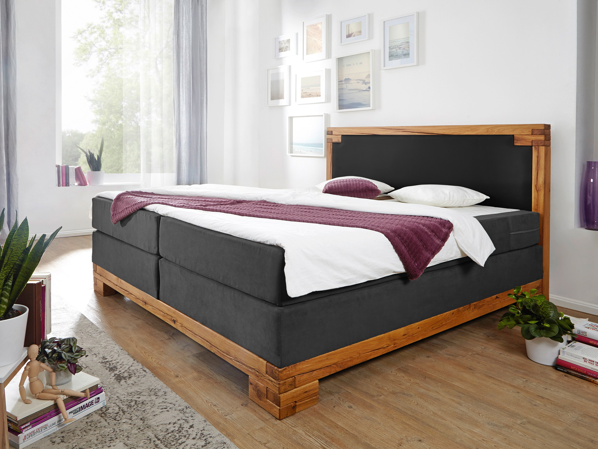 bellamie boxspringbett mit massivem holzrahmen 160 x 200 cm. Black Bedroom Furniture Sets. Home Design Ideas