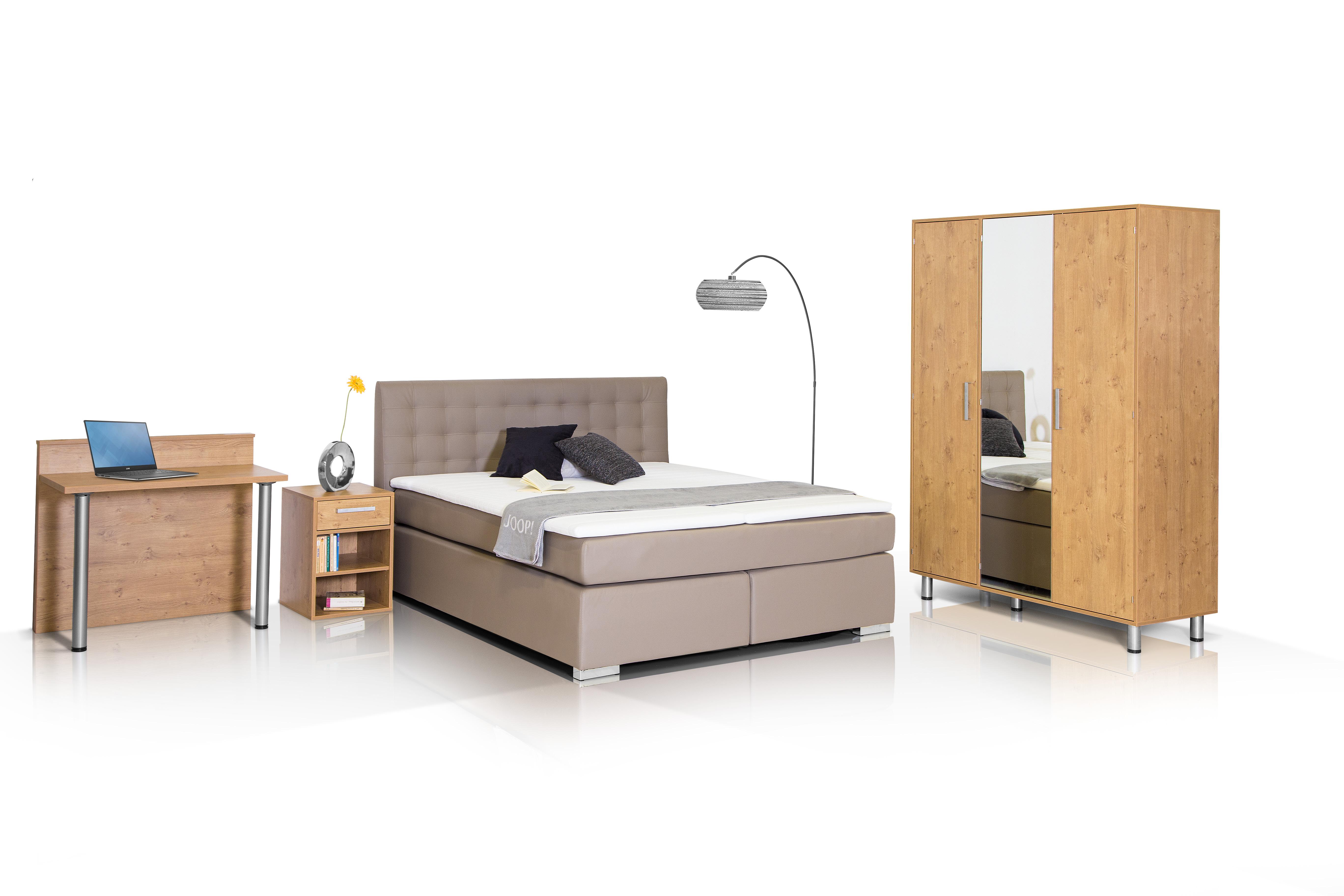 Komplett-Schlafzimmer: Schrank, Bettgestell, Nachtkommode ...