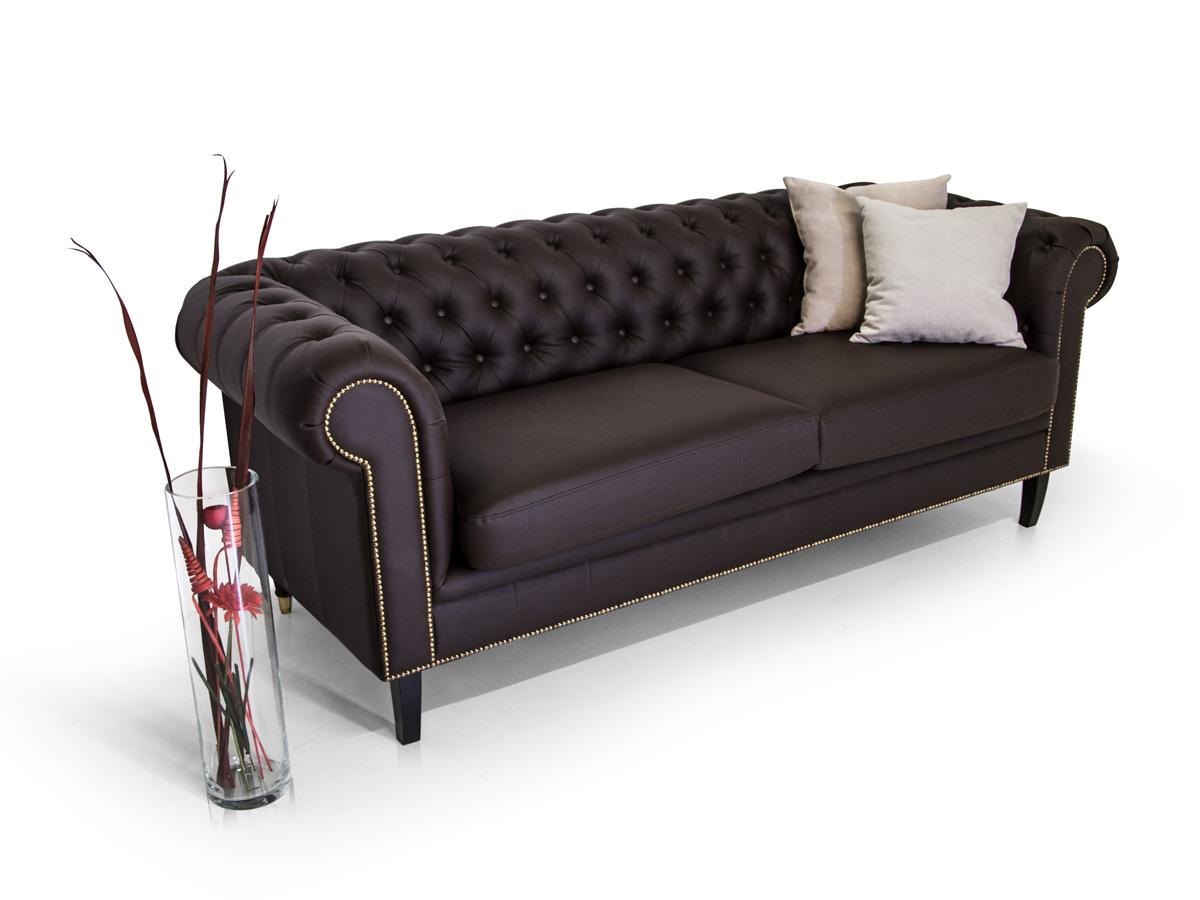 chesterfield 2 sitzer sofa santos kunstleder braun. Black Bedroom Furniture Sets. Home Design Ideas