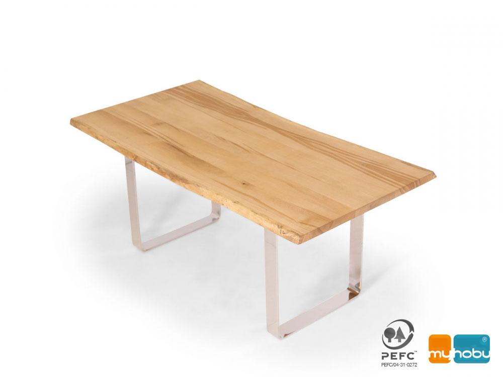 Esstisch Massivholz Sumpfeiche : ZWEIGELT Esstisch  Baumkantentisch  Maßesstsich