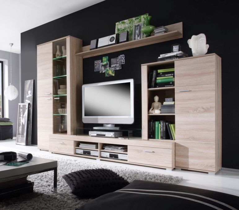 cameron wohnwand eiche s gerau hell. Black Bedroom Furniture Sets. Home Design Ideas