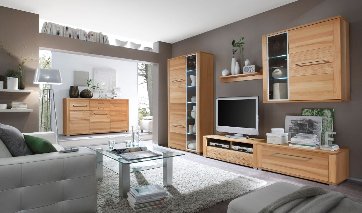 wohnwand kernbuche teilmassiv m bel g nstig kaufen. Black Bedroom Furniture Sets. Home Design Ideas