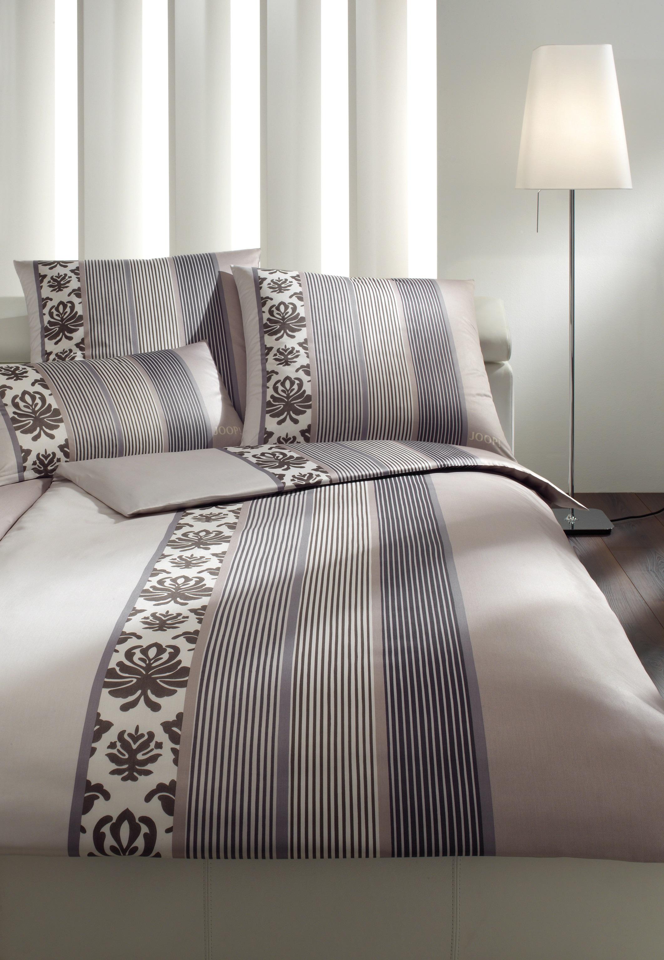 Möbel-Eins JOOP! Bettwäsche Ornament stripe beige-braun 4022-77 in 2 Größen