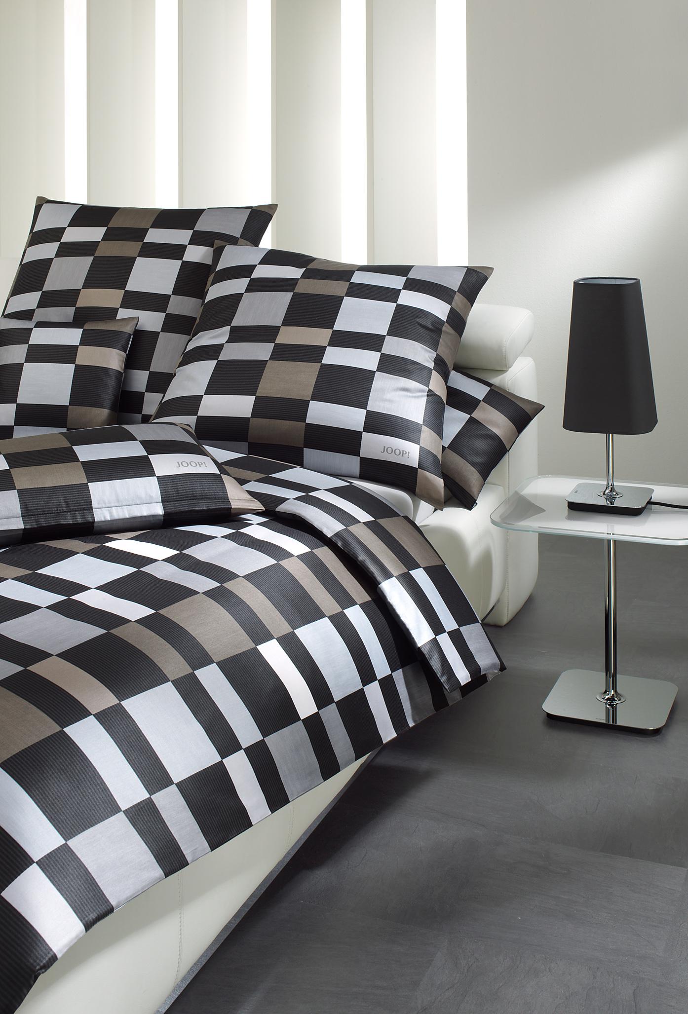Möbel-Eins JOOP! Bettwäsche Lucern Squares grau / braun 4044-9 in 2 Größen