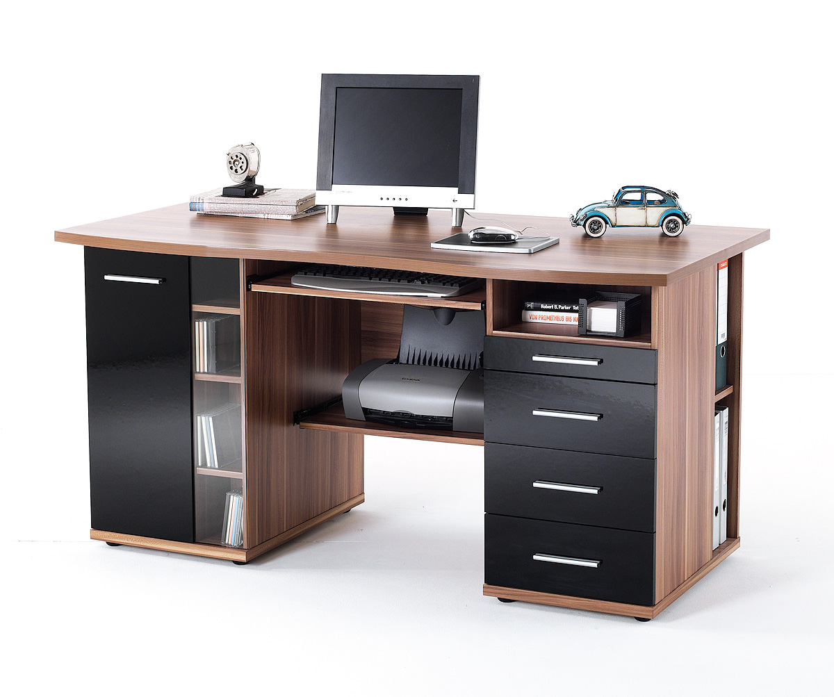 micro desk computer schreibtisch walnuss nachbildung schwarz hochglanz 249 b2b trade. Black Bedroom Furniture Sets. Home Design Ideas